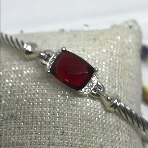 David Yurman 3mm Petite Wheaton Garnet Diamonds